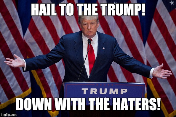 Donald Trump | HAIL TO THE TRUMP! DOWN WITH THE HATERS! | image tagged in donald trump | made w/ Imgflip meme maker