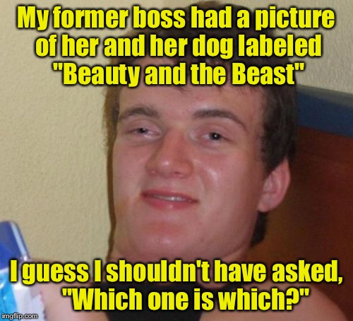 "10 Guy Meme | My former boss had a picture of her and her dog labeled ""Beauty and the Beast"" I guess I shouldn't have asked,    ""Which one is which?"" 