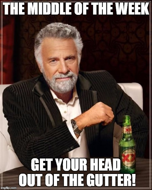 The Most Interesting Man In The World Meme | THE MIDDLE OF THE WEEK GET YOUR HEAD OUT OF THE GUTTER! | image tagged in memes,the most interesting man in the world | made w/ Imgflip meme maker