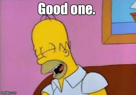 Homer Laughing | Good one. | image tagged in homer laughing | made w/ Imgflip meme maker