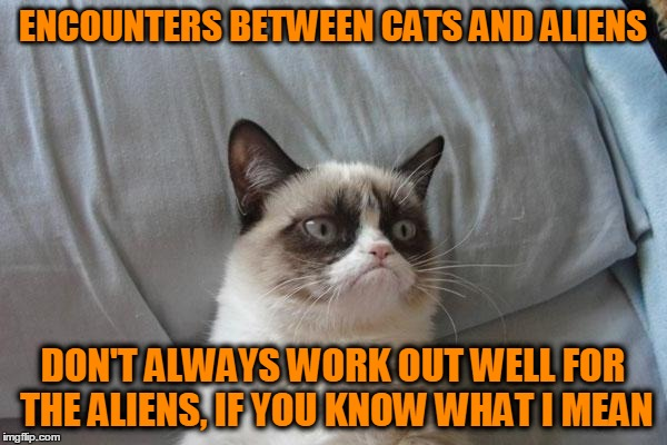 ENCOUNTERS BETWEEN CATS AND ALIENS DON'T ALWAYS WORK OUT WELL FOR THE ALIENS, IF YOU KNOW WHAT I MEAN | made w/ Imgflip meme maker