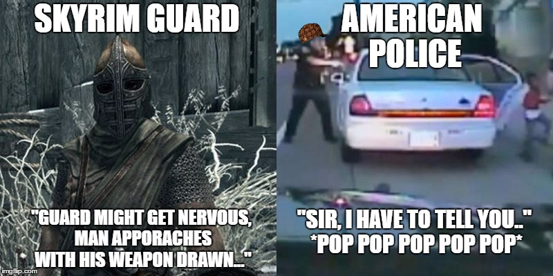 skyrim guards vs american police Memes & GIFs - Imgflip