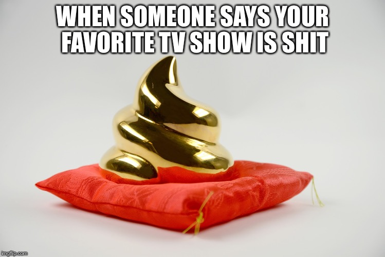 WHEN SOMEONE SAYS YOUR FAVORITE TV SHOW IS SHIT | image tagged in golden shit | made w/ Imgflip meme maker