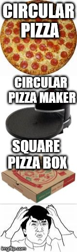 I know it's for manufacturing purposes, but still... | CIRCULAR PIZZA CIRCULAR PIZZA MAKER SQUARE PIZZA BOX | image tagged in memes,pizza,jackie chan wtf,wtf | made w/ Imgflip meme maker