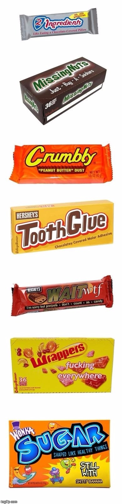 Some slightly more realistic names for candies... | image tagged in candy names,memes,truth in advertising,funny,funny candy,candy | made w/ Imgflip meme maker