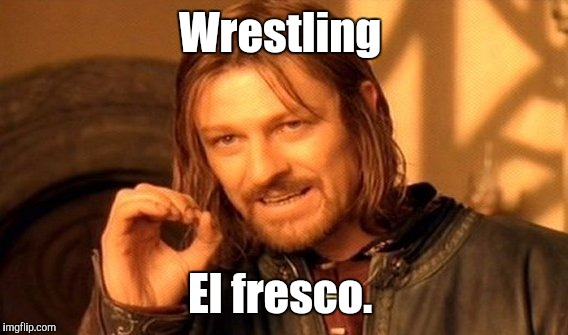 One Does Not Simply Meme | Wrestling El fresco. | image tagged in memes,one does not simply | made w/ Imgflip meme maker