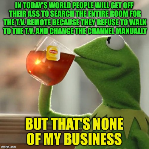 But Thats None Of My Business Meme | IN TODAY'S WORLD PEOPLE WILL GET OFF THEIR ASS TO SEARCH THE ENTIRE ROOM FOR THE T.V. REMOTE BECAUSE THEY REFUSE TO WALK TO THE T.V. AND CHA | image tagged in memes,but thats none of my business,kermit the frog | made w/ Imgflip meme maker
