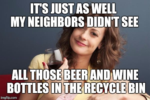 IT'S JUST AS WELL MY NEIGHBORS DIDN'T SEE ALL THOSE BEER AND WINE BOTTLES IN THE RECYCLE BIN | made w/ Imgflip meme maker