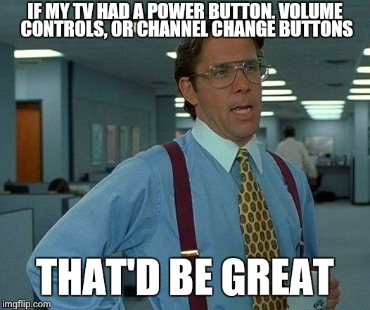 That Would Be Great Meme | IF MY TV HAD A POWER BUTTON, VOLUME CONTROLS, OR CHANNEL CHANGE BUTTONS THAT'D BE GREAT | image tagged in memes,that would be great | made w/ Imgflip meme maker