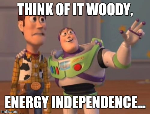 X, X Everywhere Meme | THINK OF IT WOODY, ENERGY INDEPENDENCE... | image tagged in memes,x,x everywhere,x x everywhere | made w/ Imgflip meme maker