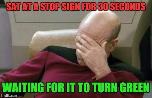 Do you ever have a stroke of idiot? | SAT AT A STOP SIGN FOR 30 SECONDS WAITING FOR IT TO TURN GREEN | image tagged in memes,captain picard facepalm | made w/ Imgflip meme maker