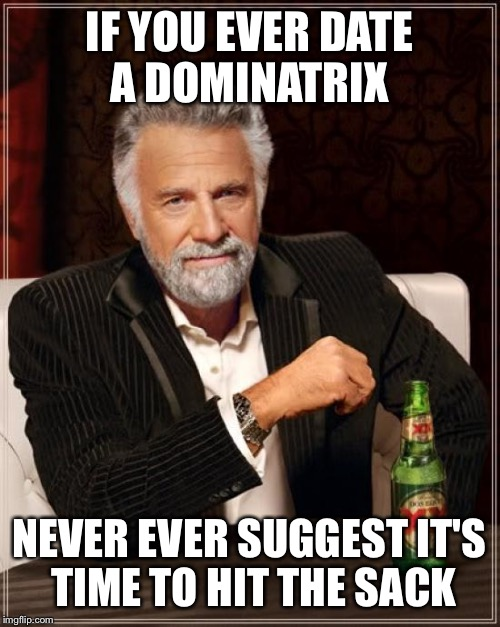 When the whip comes down  | IF YOU EVER DATE A DOMINATRIX NEVER EVER SUGGEST IT'S TIME TO HIT THE SACK | image tagged in memes,the most interesting man in the world,funny | made w/ Imgflip meme maker