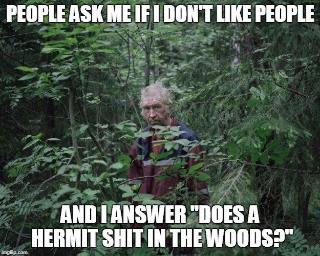 "PEOPLE ASK ME IF I DON'T LIKE PEOPLE AND I ANSWER ""DOES A HERMIT SHIT IN THE WOODS?"" 