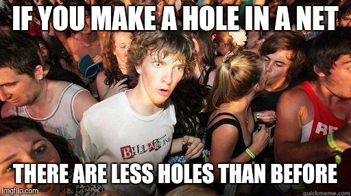 Sudden Realization | IF YOU MAKE A HOLE IN A NET THERE ARE LESS HOLES THAN BEFORE | image tagged in sudden realization | made w/ Imgflip meme maker