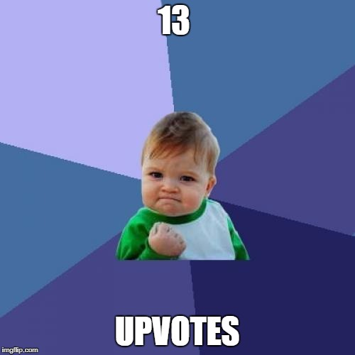 Success Kid Meme | 13 UPVOTES | image tagged in memes,success kid | made w/ Imgflip meme maker