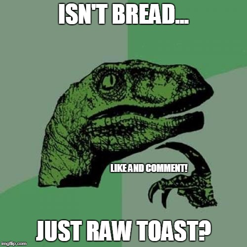 Philosoraptor Meme | ISN'T BREAD... JUST RAW TOAST? LIKE AND COMMENT! | image tagged in memes,philosoraptor | made w/ Imgflip meme maker