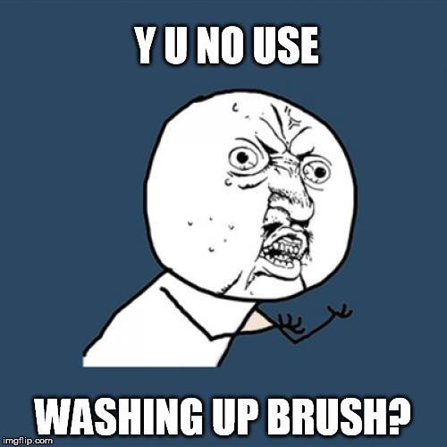 Y U No Meme | Y U NO USE WASHING UP BRUSH? | image tagged in memes,y u no | made w/ Imgflip meme maker