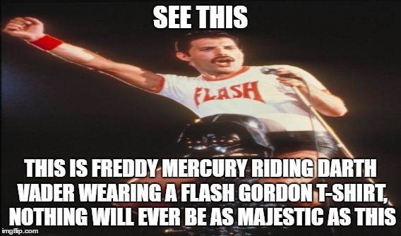 Freddy Mercury, a.k.a. The Most Majestic Man on the planet Earth | SEE THIS THIS IS FREDDY MERCURY RIDING DARTH VADER WEARING A FLASH GORDON T-SHIRT, NOTHING WILL EVER BE AS MAJESTIC AS THIS | image tagged in freddie mercury | made w/ Imgflip meme maker