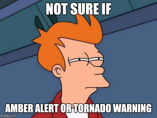 Futurama Fry Meme | NOT SURE IF AMBER ALERT OR TORNADO WARNING | image tagged in memes,futurama fry | made w/ Imgflip meme maker