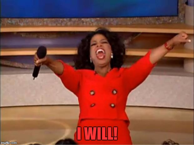 Oprah You Get A Meme | I WILL! | image tagged in memes,oprah you get a | made w/ Imgflip meme maker