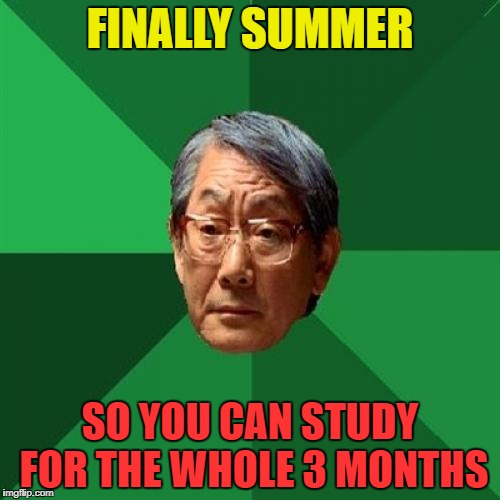 Once You Go Asian, You Never Miss The Equation | FINALLY SUMMER SO YOU CAN STUDY FOR THE WHOLE 3 MONTHS | image tagged in memes,high expectations asian father,asian,summer,study,funny | made w/ Imgflip meme maker