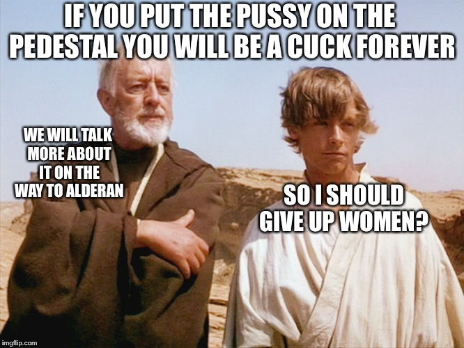 IF YOU PUT THE PUSSY ON THE PEDESTAL YOU WILL BE A CUCK FOREVER SO I SHOULD GIVE UP WOMEN? WE WILL TALK MORE ABOUT IT ON THE WAY TO ALDERAN | image tagged in obiwan and luke | made w/ Imgflip meme maker