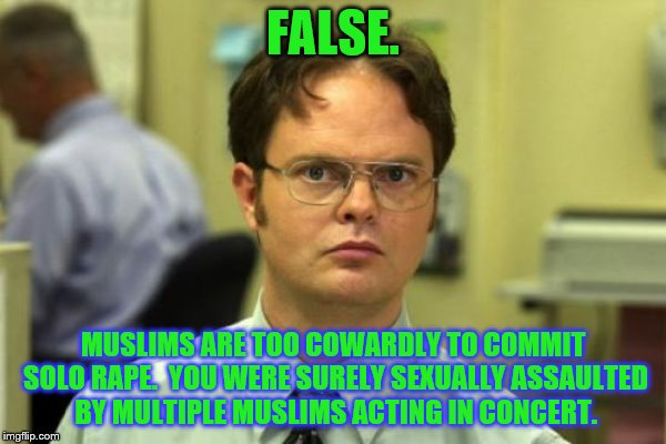 FALSE. MUSLIMS ARE TOO COWARDLY TO COMMIT SOLO **PE.  YOU WERE SURELY SEXUALLY ASSAULTED BY MULTIPLE MUSLIMS ACTING IN CONCERT. | made w/ Imgflip meme maker