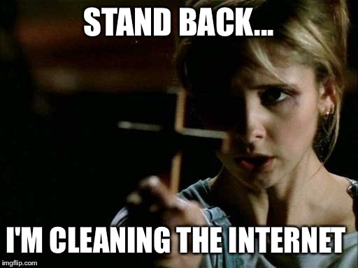 STAND BACK... I'M CLEANING THE INTERNET | image tagged in buffy cross vampire | made w/ Imgflip meme maker