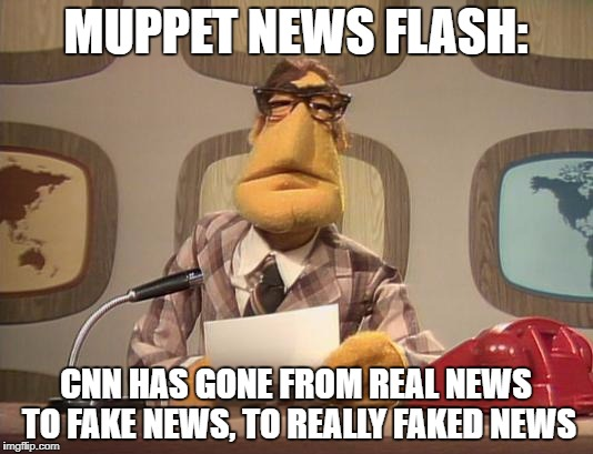 Muppet News | MUPPET NEWS FLASH: CNN HAS GONE FROM REAL NEWS TO FAKE NEWS, TO REALLY FAKED NEWS | image tagged in muppet news | made w/ Imgflip meme maker