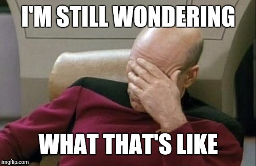 Captain Picard Facepalm Meme | I'M STILL WONDERING WHAT THAT'S LIKE | image tagged in memes,captain picard facepalm | made w/ Imgflip meme maker