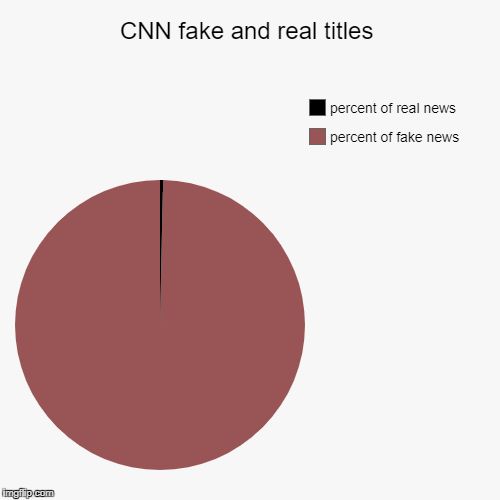 CNN fake and real titles | percent of fake news, percent of real news | image tagged in funny,pie charts | made w/ Imgflip pie chart maker