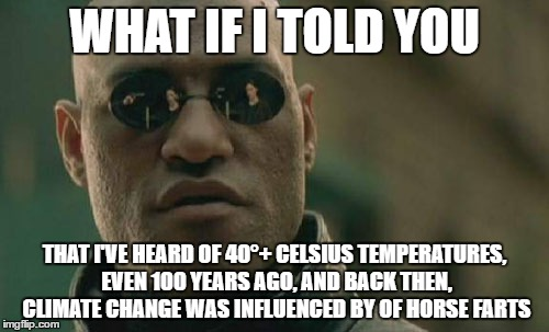 Matrix Morpheus Meme | WHAT IF I TOLD YOU THAT I'VE HEARD OF 40°+ CELSIUS TEMPERATURES, EVEN 100 YEARS AGO, AND BACK THEN, CLIMATE CHANGE WAS INFLUENCED BY OF HORS | image tagged in memes,matrix morpheus | made w/ Imgflip meme maker