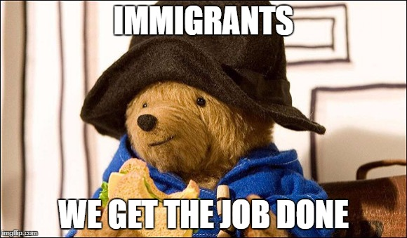 IMMIGRANTS WE GET THE JOB DONE | image tagged in paddington | made w/ Imgflip meme maker