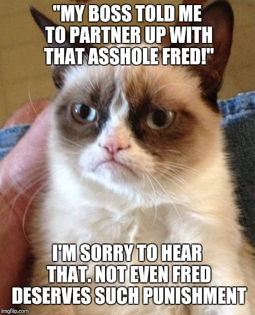 "Grumpy Cat Meme | ""MY BOSS TOLD ME TO PARTNER UP WITH THAT ASSHOLE FRED!"" I'M SORRY TO HEAR THAT. NOT EVEN FRED DESERVES SUCH PUNISHMENT 
