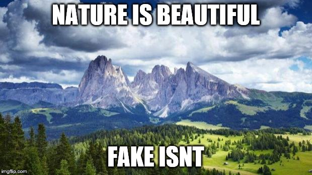 nature#mountains | NATURE IS BEAUTIFUL FAKE ISNT | image tagged in naturemountains | made w/ Imgflip meme maker