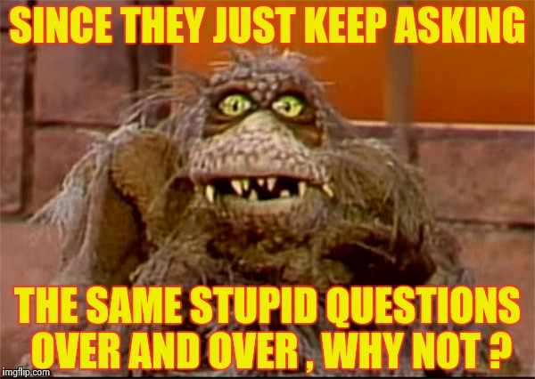 Scred | SINCE THEY JUST KEEP ASKING THE SAME STUPID QUESTIONS OVER AND OVER , WHY NOT ? | image tagged in scred | made w/ Imgflip meme maker
