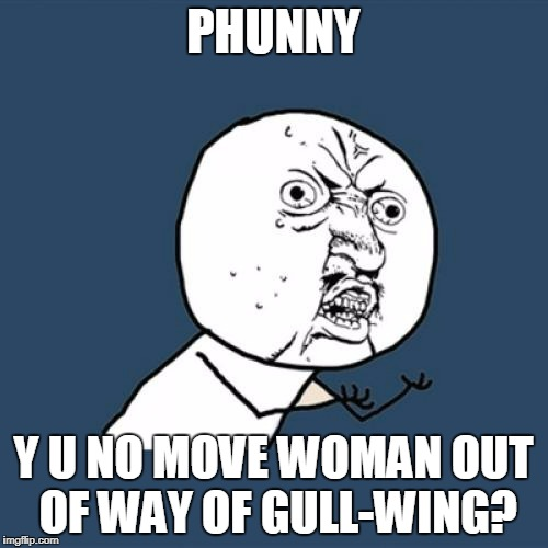 Y U No Meme | PHUNNY Y U NO MOVE WOMAN OUT OF WAY OF GULL-WING? | image tagged in memes,y u no | made w/ Imgflip meme maker