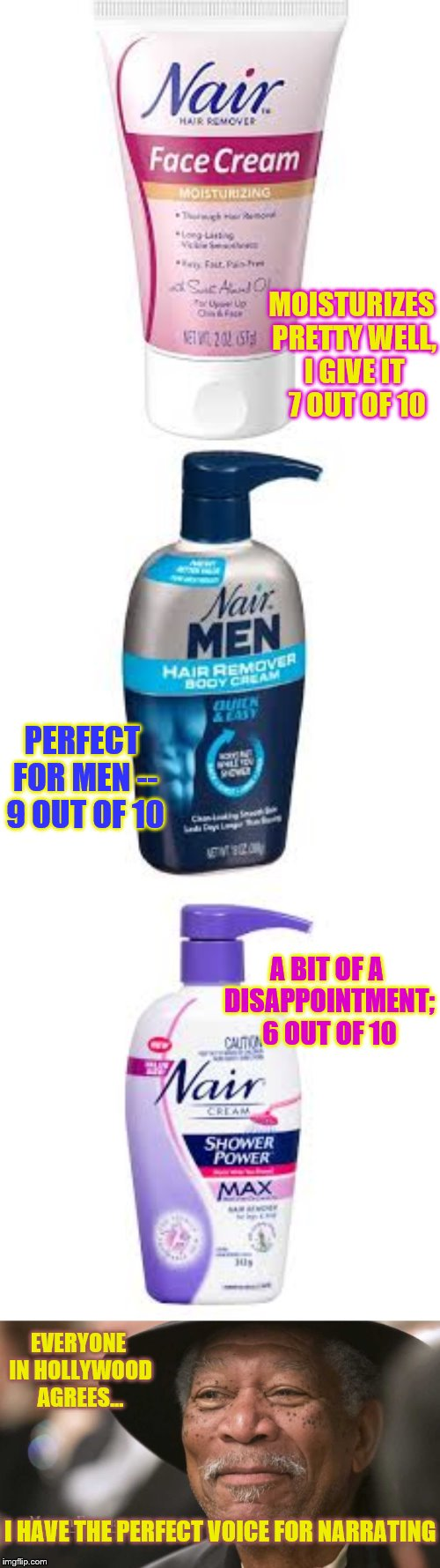 Dr. Freeman's Product Evaluation | MOISTURIZES PRETTY WELL, I GIVE IT  7 OUT OF 10 PERFECT FOR MEN -- 9 OUT OF 10 A BIT OF A DISAPPOINTMENT; 6 OUT OF 10 EVERYONE IN HOLLYWOOD  | image tagged in memes,funny,punny,phunny | made w/ Imgflip meme maker