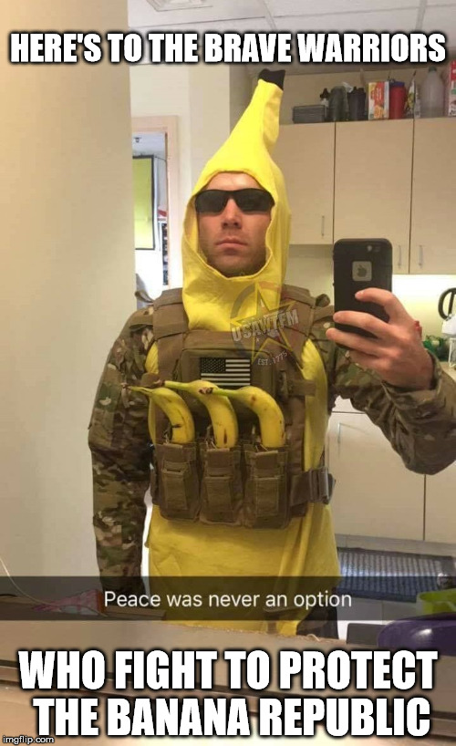 How many likes can our boys in yellow get? | HERE'S TO THE BRAVE WARRIORS WHO FIGHT TO PROTECT THE BANANA REPUBLIC | image tagged in memes,bananas,support our troops | made w/ Imgflip meme maker