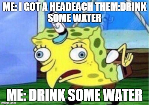 Mocking Spongebob |  ME: I GOT A HEADEACH THEM:DRINK SOME WATER; ME: DRINK SOME WATER | image tagged in mocking spongebob | made w/ Imgflip meme maker