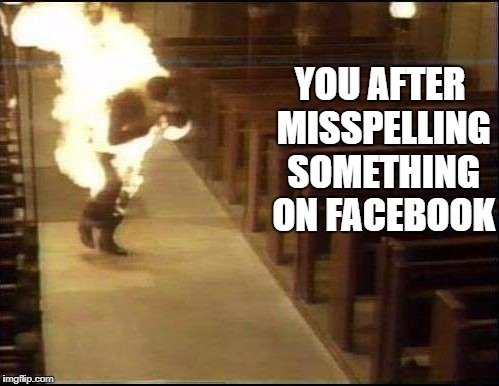 YOU AFTER MISSPELLING SOMETHING ON FACEBOOK | image tagged in holy shit | made w/ Imgflip meme maker