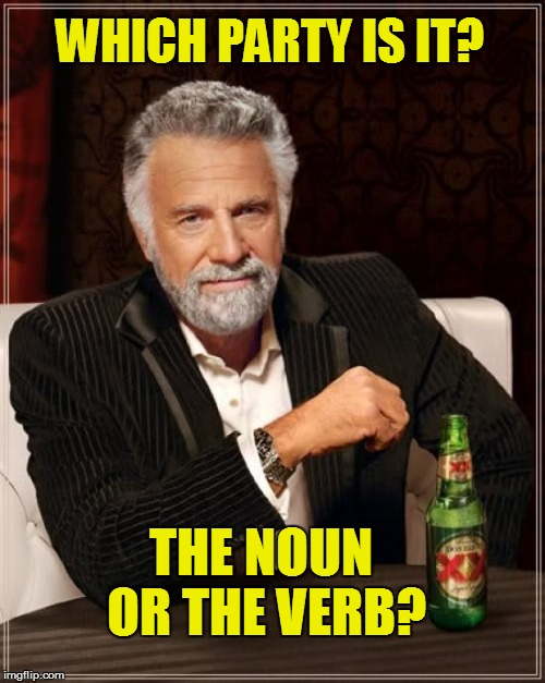The Most Interesting Man In The World Meme | WHICH PARTY IS IT? THE NOUN OR THE VERB? | image tagged in memes,the most interesting man in the world | made w/ Imgflip meme maker