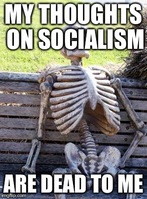 Bad pun social skeleton | MY THOUGHTS ON SOCIALISM ARE DEAD TO ME | image tagged in memes,waiting skeleton | made w/ Imgflip meme maker