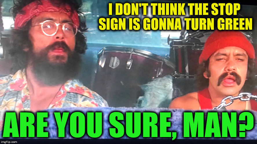 I DON'T THINK THE STOP SIGN IS GONNA TURN GREEN ARE YOU SURE, MAN? | made w/ Imgflip meme maker