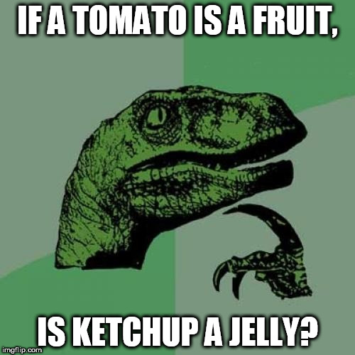 I think the weed is working | IF A TOMATO IS A FRUIT, IS KETCHUP A JELLY? | image tagged in memes,philosoraptor | made w/ Imgflip meme maker