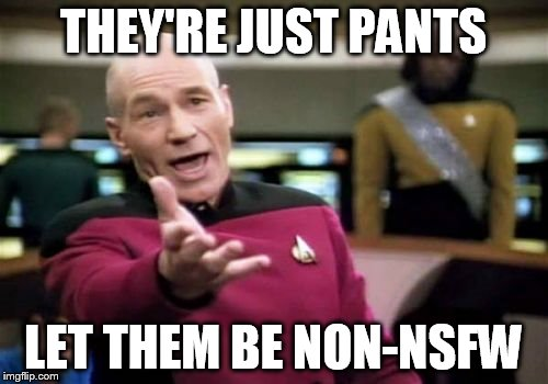 Picard Wtf Meme | THEY'RE JUST PANTS LET THEM BE NON-NSFW | image tagged in memes,picard wtf | made w/ Imgflip meme maker