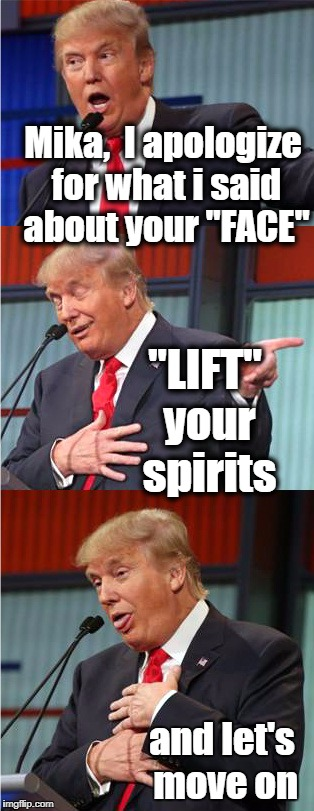 "See what I did there? | Mika,  I apologize for what i said about your ""FACE"" and let's move on ""LIFT"" your spirits 