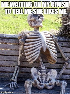 Waiting Skeleton Meme | ME WAITING ON MY CRUSH TO TELL ME SHE LIKES ME | image tagged in memes,waiting skeleton | made w/ Imgflip meme maker