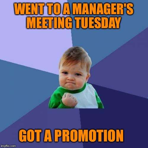 ❤️ 15 years in the making, but I LOVE MY JOB ❤️  | WENT TO A MANAGER'S MEETING TUESDAY GOT A PROMOTION | image tagged in memes,success kid,lynch1979 | made w/ Imgflip meme maker