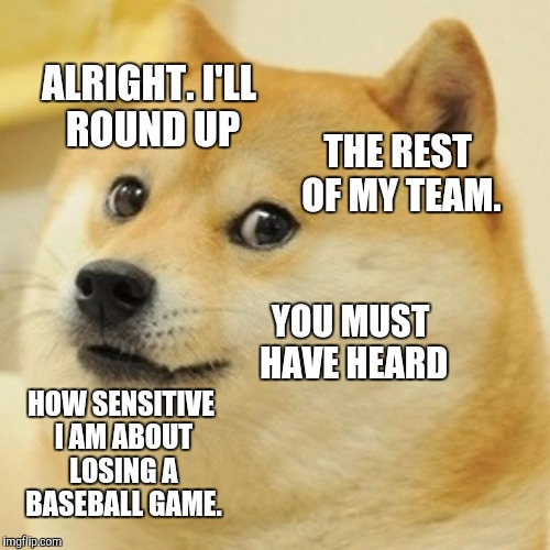 Doge Meme | ALRIGHT. I'LL ROUND UP THE REST OF MY TEAM. YOU MUST HAVE HEARD HOW SENSITIVE I AM ABOUT LOSING A BASEBALL GAME. | image tagged in memes,doge | made w/ Imgflip meme maker